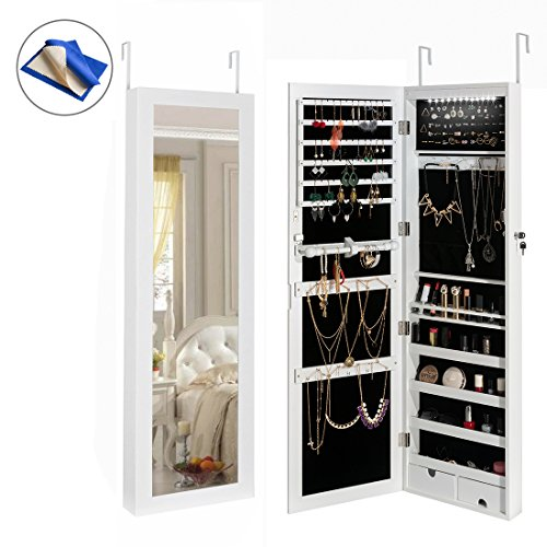 HollyHOME Jewelry Cabinet Lockable Wall Door Mounted Jewelry Armoire
