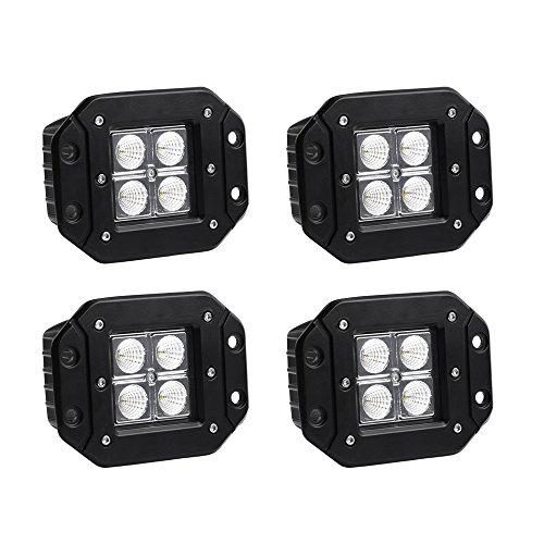 Flush Mount LED Light Bar YITAMOTOR 4Pcs 20W 4inch Led Light Pod Flood Offroad Led Work Light Bar Driving Fog Light Boat Light Waterproof Pickup Truck Tacoma Bumper ATV UTV, 1 Year Warranty ()