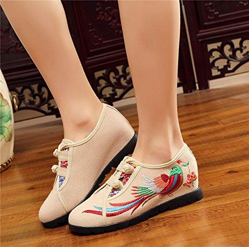 Avacostume Da Donna Coloratissimo Con Ricamo In Gomma Suola Con Sneakers Abbottonate Beige