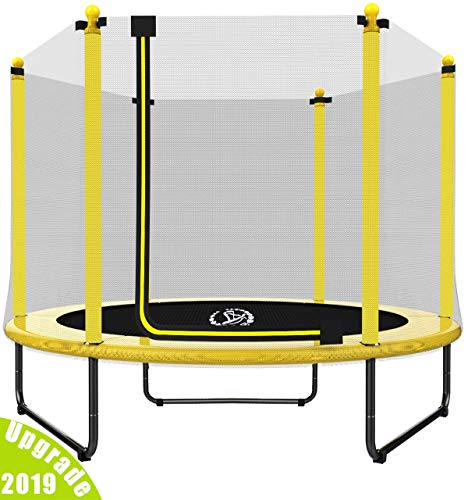"LANGXUN 60"" Trampoline for Kids - 5 ft Outdoor & Indoor Trampoline with Enclosure net and Safety Jumping Mat Cover 