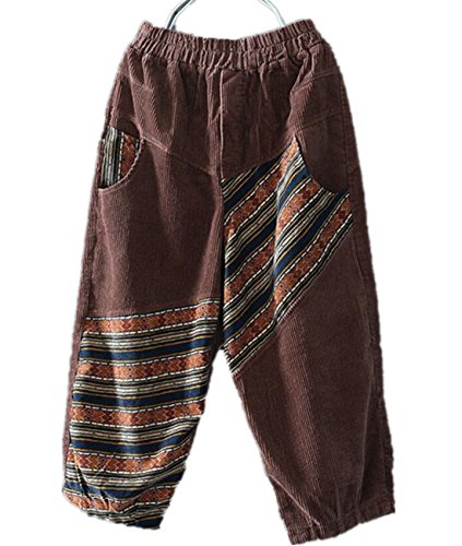 YESNO PR9 Women Casual Loose Cropped Corduroy Pants 100% Cotton Ethnic Patchwork Low Crotch/Pocket ()