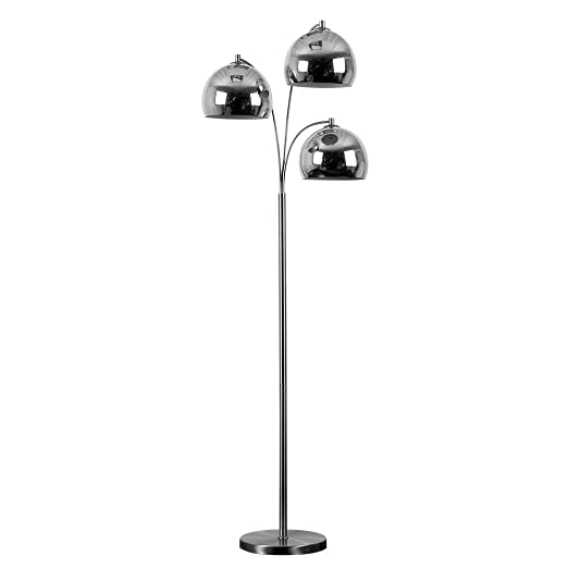 Modern designer style 3 way brushed chrome floor lamp complete modern designer style 3 way brushed chrome floor lamp complete with mini arco style chrome aloadofball Gallery