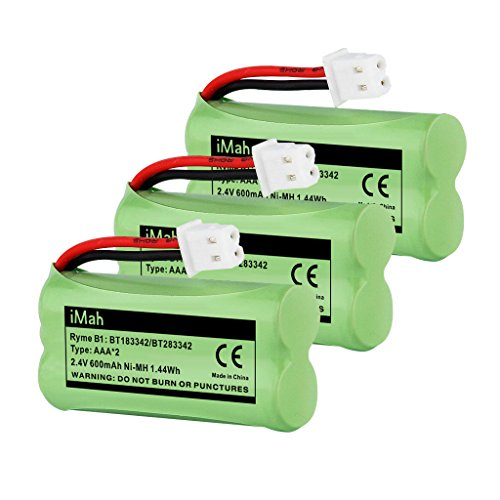 iMah BT183342 BT283342 BT166342 BT266342 BT162342 BT262342 Cordless Phone Battery Compatible VTech CS6709 CS6609 CS6509 CS6409 AT&T EL52100 EL50003 CL80100 CL80111 CRL80112 EL50003 Handsets, 3-Pack