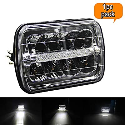 5x7 LED Headlights Lamp Replacement H5054 H6054LL 69822 6052 6053 1PC Pack 5x7 Inch High Low Beam LED Headlight Headlamp with Halo DRL fit Truck Jeep Wrangler XJ YJ Sedans GMC (5x7 Headlights): Automotive