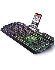 لوحة مفاتيح مخصصة للألعاب بأنظمة أضائة أر جى بى متعددة من المعدن مقاومة للماء بمسند للموبايل - 3 نظام أضائة متعددة من المعدن الخالص