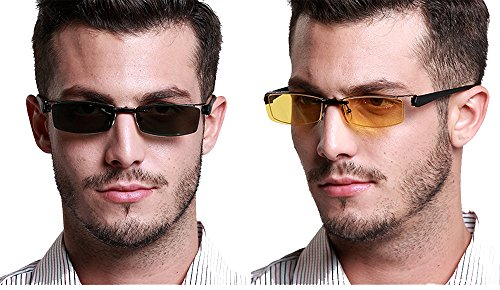 ca97a5cac7c Agstum Mens Half Rimless Myopia Glasses Frame Magnetic Clip On Sunglasses