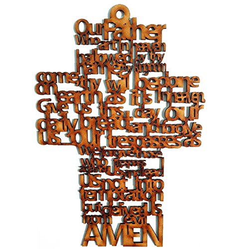 Latin Woman Our Father's Cross In Laser-Made Wood Lord's Prayer Wall Cross, Religious Christians & Catholics | Easy Installation, Cross Room Decoration