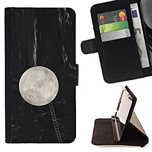 For Sony Xperia M4 Aqua Case , Luna Escalera Metáfora Noche Llegar- la tarjeta de Crédito Slots PU Funda de cuero Monedero caso cubierta de piel