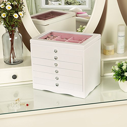 SONGMICS 6Layer Jewelry Box Extra Large Girls Jewelry Organizer