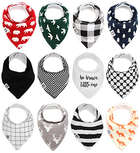 (Baby Bandana Drool Bibs for Boys & Girls 12 Pack