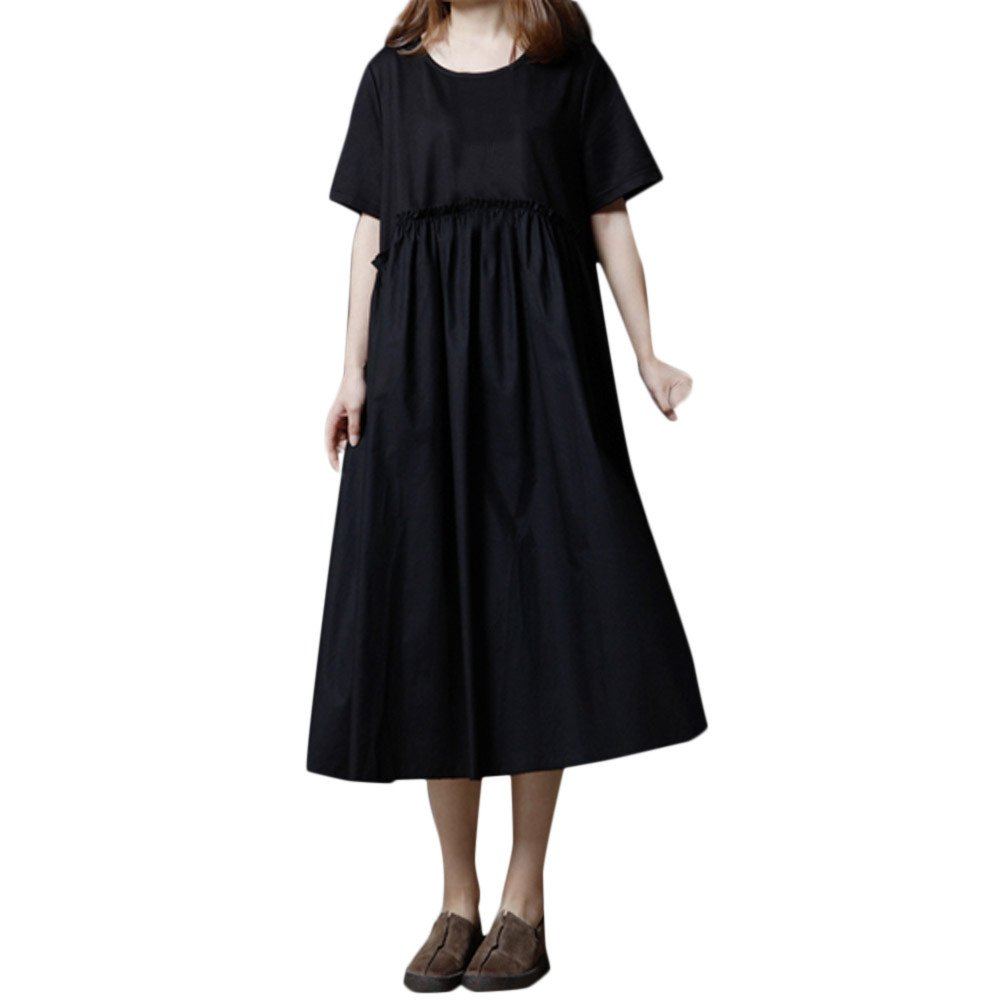 Womens Dresses Clearance Sale! Women's 3/4 Sleeve Casual Loose Cotton Linen Soild High Line Long Dress Daily