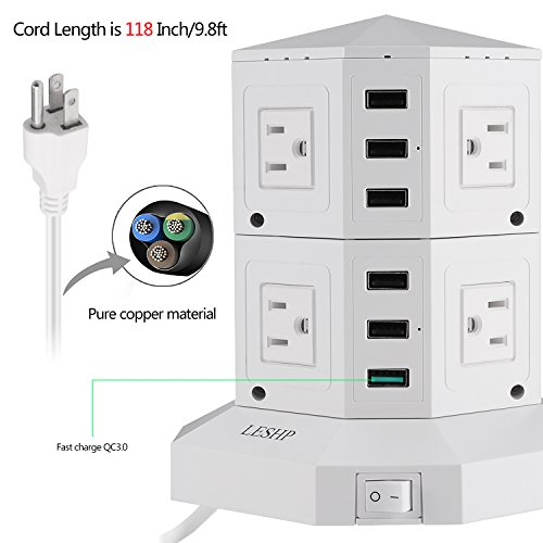 Power Strip Tower LESHP Surge Protector Electric Charging Station 1750W 15A with 8 Outlets 5 Intelligent USB Ports 1 Fast Charging USB Ports 9.8ft Cord Wire Extension Universal Socket (White)
