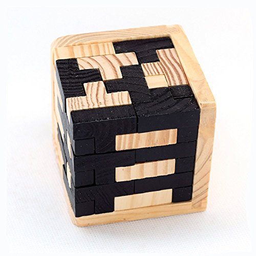 SHUYUE Handmade 54 T-Shaped Tetris Blocks 3D Wooden Brain Teasers Geometric Intellectual Jigsaw Logic Cube Puzzles Educational Toys Kids Adults