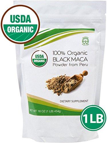 Madre Nature - 100% Certifié USDA Organic Gonfle Noir Poudre de Maca - Frais de Récolte à partir de Pérou - sans OGM - Vegan - sans Gluten - 1 LB, 50 Portions (16 oz)