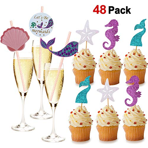 Konsait Mermaid Theme Glitter Cupcake Topper Cake Picks& Paper Drinking Straw(48Pack) for Sea Mermaid Baby Shower Birthday Party Bridal shower Decorations, Mermaid Party Decor Favor Supplies