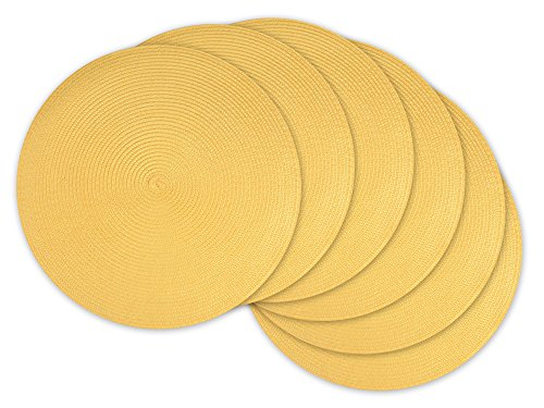 "DII, Classic Round Placemats, Woven , Set of 6, 15"" Diameter, Yellow - SET OF SIX - Round placemats have a diameter of 15"" EASY CARE - 100% polyurethane, shake briskly and wipe with damp sponge or cloth. ADDS A FINISHING TOUCH -  Our placemats feature a sturdy braided woven design and round silhouette, provides a pop of color to liven up meals or gatherings. - placemats, kitchen-dining-room-table-linens, kitchen-dining-room - 51bRMlg73wL -"