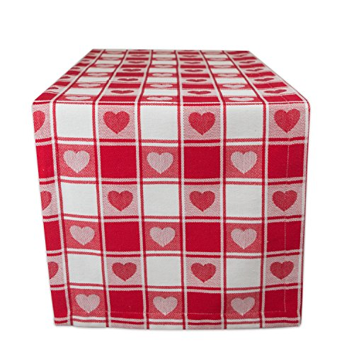 Heart Table Runner - DII Valentine's Day Red & Whte Checkered Hearts 100% Cotton Table Runner (14 x 72) Machine Washable - Beautiful Gift for Valentine's Day, Mother's Day, Housewarming