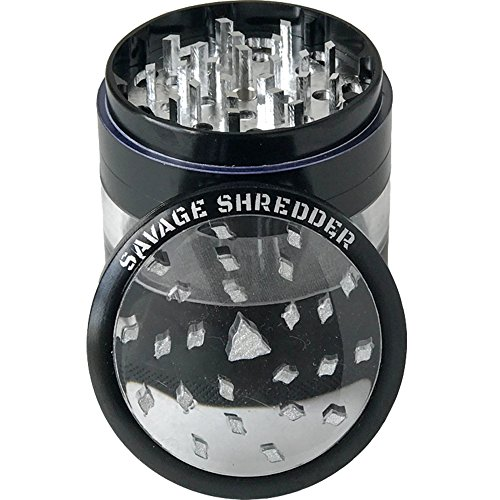 SAVAGE SHREDDER (BLACK) - Large Herb Grinder, 4 Four Piece with Pollen Catcher, Converts to On-the-go Pocket Grinder, Premium Grade Aluminum, Clear Acrylic Window, 3.5 inches tall