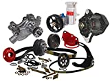 NEW KRC CHEVY CRATE MOTOR SERPENTINE KIT FOR THE FRONT OF THE ENGINE WITH DENSO ALTERNATOR, WATER PUMP, KRC POWER STEERING PUMP, PULLEY, HEAD MOUNT BRACKET, & TANK, ALTERNATOR BRACKET, PULLEY & BELT, WATER PUMP & CRANK PULLEYS & BELT, SPACED OUT TO CLEAR TAMPER-PROOF TIMING COVER BOLTS