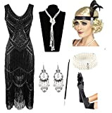 1920s Gatsby Sequin Fringed Paisley Flapper Dress with 20s Accessories Set (S, Black)