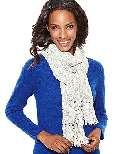 Charter Club Chenille Shaker Scarf, Ivory, One Size (Chenille White Scarf)