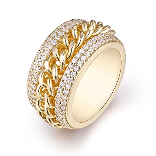 Barzel Gold Plated & Swarovski Elements Braid Statement Ring (10) Brass Gold Plated Ring