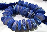 Dark Tanzanite Color Solar Quartz Slice Disc Sparkling Beads 14 to 18mm Size / Each Strand 8 inch long with approx. 25-30 Beads/ Druzy Beads