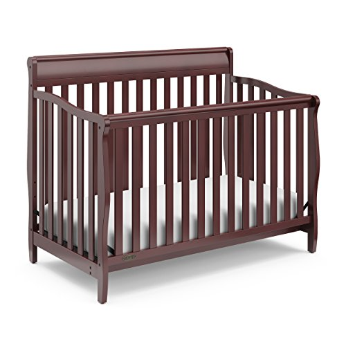 Graco Stanton Convertible Crib, Cherry, Easily Converts to Toddler Bed Day Bed or Full Bed, Three Position Adjustable Height Mattress, Some Assembly Required (Mattress Not Included)
