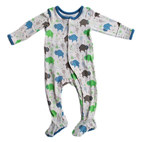 Kozi & Co. Baby Sleeper Newborn Footie Pajamas - Bamboo Clothing - Infant Boys - Baby Buffalo - 3-6 Months by - Kicky Pants Baby Clothes