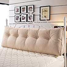 WOWMAX Sofa Large Filled Triangular Wedge Cushion for Daybed Bed Backrest Positioning Support Pillow Reading Pillow Office Lumbar Pad with Removable Cover Off-White California King