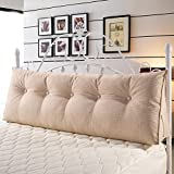 VERCART Large Soft Upholstered Headboard Sofa Bed Filled Triangular Bed Backrest Positioning Support Wedge Cushion Reading Pillow Office Lumbar Pad with Removable Cover California King Linen Ivory
