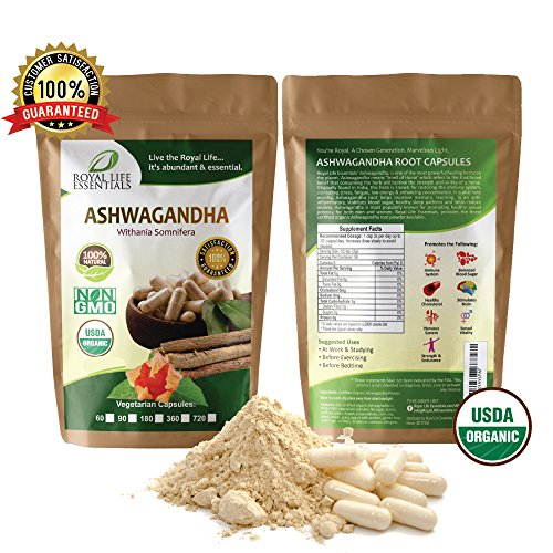 Ashwagandha Root Powder 60 Capsules Boost Running Swimming Triatha Endurance Energy 100% Raw Organic Herbal Supplement Superfood Immune System Smoothies & Shakes Vegan & Vegetarian