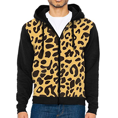 Men Leopard Animal Skin Poster Classicl Zipper Splicing Hoodie Belt With Hat And (Leopard Skin Belt)