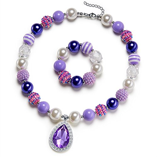 Vcmart Amulet Teardrop Amethyst Necklace Chunky Bubblegum Bead For Kids Toddler Dress Up (Sofia Amulet)