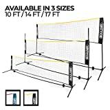 Boulder Portable Badminton Net Set - 14-Ft Size Tennis, Soccer Tennis, Pickleball, Kids Volleyball - Easy Setup Nylon Sports Net Poles Indoor Outdoor Court, Beach, Driveway