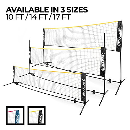 (Boulder Portable Badminton Net Set - 17-Ft Size for Tennis, Soccer Tennis, Pickleball, Kids Volleyball - Easy Setup Nylon Sports Net with Poles - for Indoor or Outdoor Court, Beach, Driveway)
