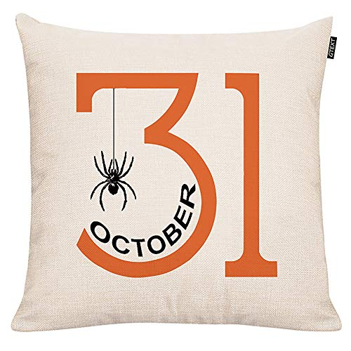 October 31 Throw Pillow Cover Halloween Party Spider Pillow Cover Cuhion Cover Case for Couch Sofa Home Decoration Fall Pillows Linen 18 X 18
