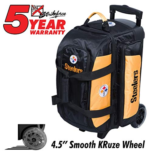 KR Strikeforce Bowling Bags Pittsburgh Steelers 2 Ball Roller Bowling Bag, Multi