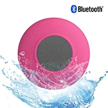 L.win Bluetooth Speaker, Waterproof Wireless Hand-free Shower Speaker Compatible with All Bluetooth Devices for Showers, Bathroom, Pool, Boat, Car, Beach, & Outdoor Use (Pink)