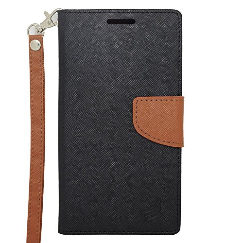 Galaxy Note 4 Case, Insten Stand Folio Flip Leather [Card Slot] Wallet Flap Pouch Case Cover for Samsung Galaxy Note 4, Black/Brown