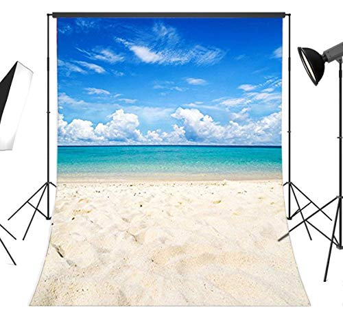 LB Tropical Beach Backdrops for Photography 5x7ft Vinyl Blue Sea and Sky Hawaii Beach Background for Wedding Moana Theme Birthday Party Portraits Photo Booth Backdrop