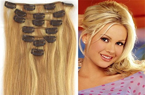 22inch 70g 7pc Straight Remy Human Hair Extensions 18/613#light ash blonde mix blonde