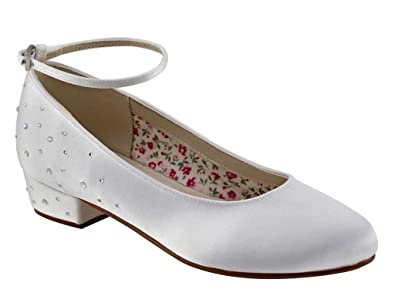 30ef9857e Miss Rainbow Kids Communion Shoes Low Heel Design with Ankle Strap    Diamante Detail - Maple