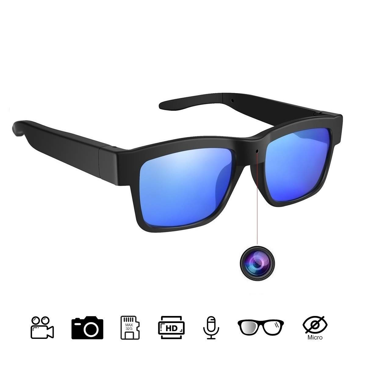 Sunglasses Camera Full HD 1080P, 65 Degree Angle for Outdoor Use,Mini Video Camera with UV Protection Polarized Lens by MIOTA