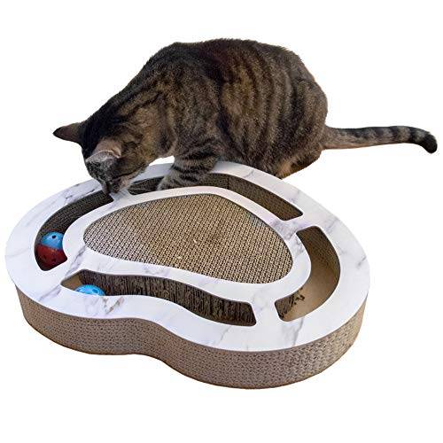 FurHaven Pet Cat Scratcher | Heart-Shaped Corrugated Scratcher Busy Box w/ Catnip, White Marble, One Size