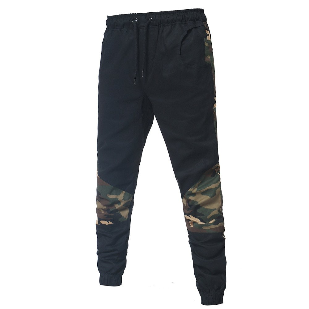 Mens Sweatpants, F_Gotal Men's Casual Camouflage Patchwwork Elastic Waist Sports Running Jogger Pants with Pockets by F_Gotal Mens Pants (Image #3)