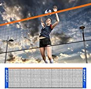 Portable Volleyball Net, Folding Adjustable Volleyball Badminton Tennis Net with Stand Pole for Beach Grass Pa