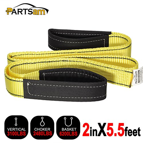 Premium Crane Towing Strap 5.5feet x 2inch Durable 3400Dtex - Heavy Duty Web Sling - Corrosion Resistance Polyester Industrial Flat Eye-Eye - Inch Polyester 2 Web