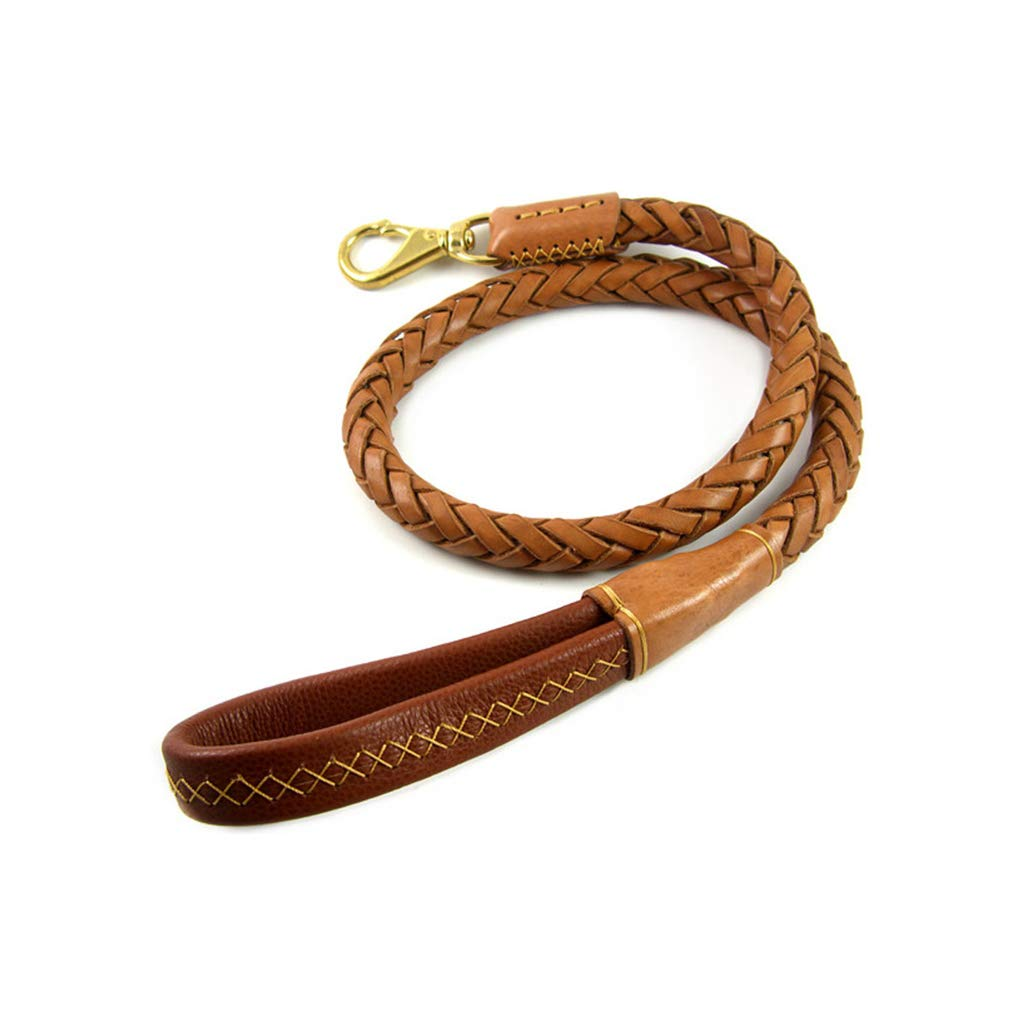 8 Strands of Yellow Cowhide Woven Dog Leash with Soft Leather Copper Hook Medium Large Dog