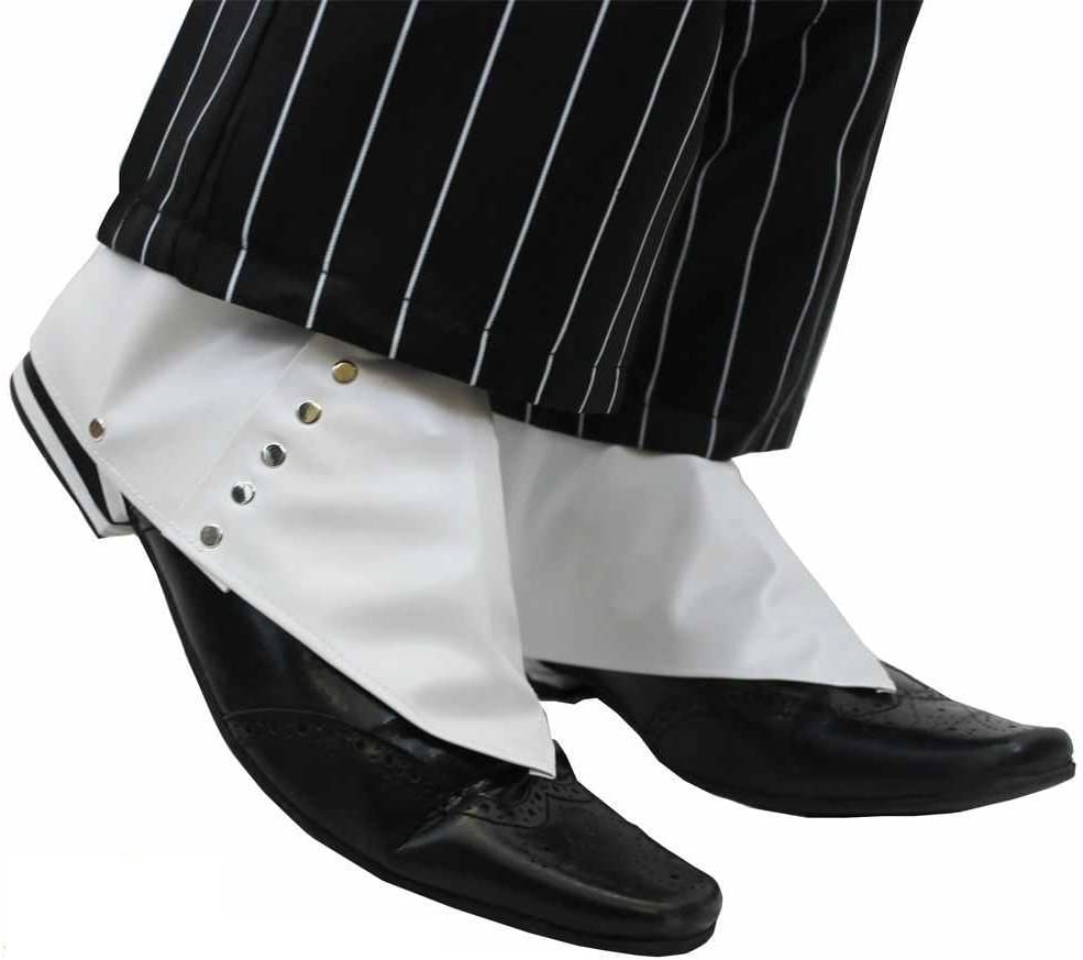 fancy dress White with Buttons Spats Halloween Mens Gangster shoe covers